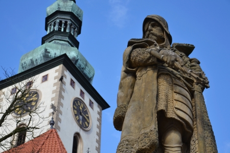 Statue of Jan Zizka of  Trocnov on the square in Tabor, Czech Republic