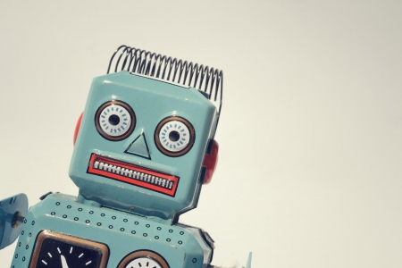 bağbozumu: Vintage teneke oyuncak robot Stok Fotoğraf