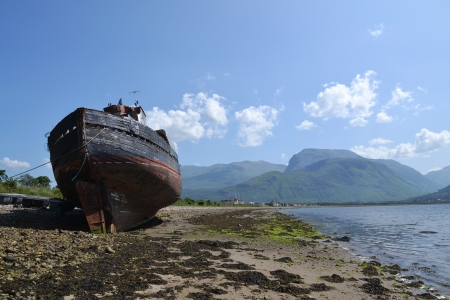 Abandoned shipwreck in Fort William, Scotland, United Kingdom