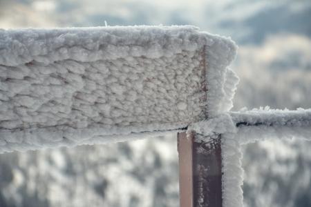 Frozen balcony railing Stock Photo