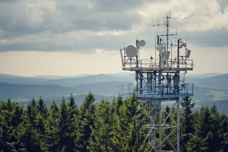 Bunch of transmitters and aerials on the telecommunication tower Stock Photo - 25442269