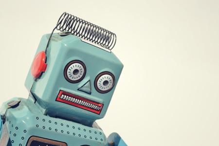 Vintage tin speelgoed robot Stockfoto