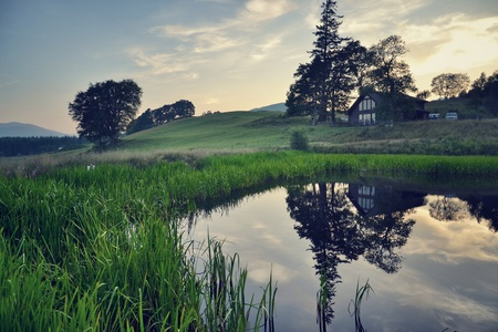 Peaceful filtered picture of scottish country Standard-Bild