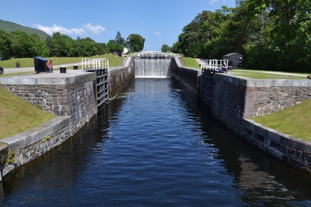 staircase: Neptune Staircase on the Caledonian Canal, the longest in Britain Stock Photo