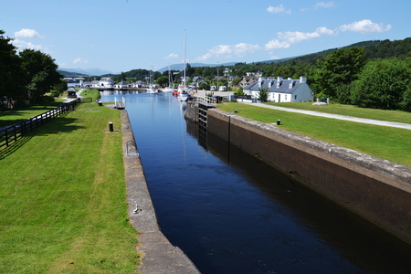 Neptune's Staircase on the Caledonian Canal, the longest in Britain 写真素材
