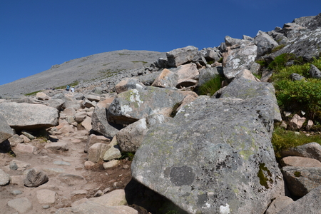 highlands region: Path to the Ben Nevis summit - the highest mountain in the United Kingdom
