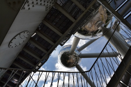 the world expo: Brussels, Belgium - July 16, 2014: The Atomium is a monument in Brussels, originally built for Expo 1958 Brussels World