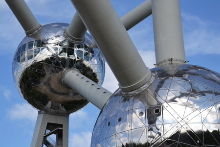 Brussels, Belgium - July 16, 2014: The Atomium is a monument in Brussels, originally built for Expo 1958 Brussels World