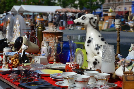 Flea market on Place du Jeu de Balle in Brussels, Belgium