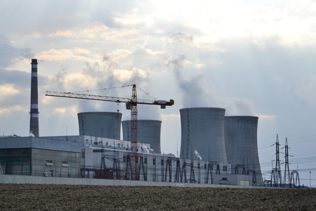 dukovany: Cooling towers at nuclear power plant