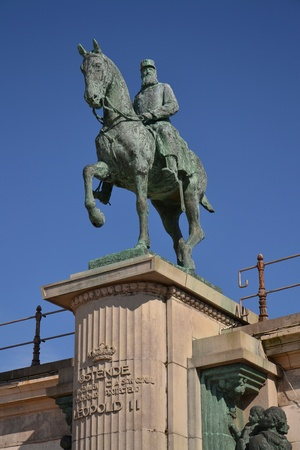 reigning: Leopold II statue - king of the Belgians reigning for 44 years, the longest of any Belgian monarch