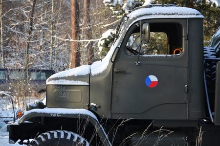 praga: Old czechoslovak military truck Praga V3S in winter