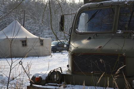 Old czechoslovak military truck Praga V3S in winter
