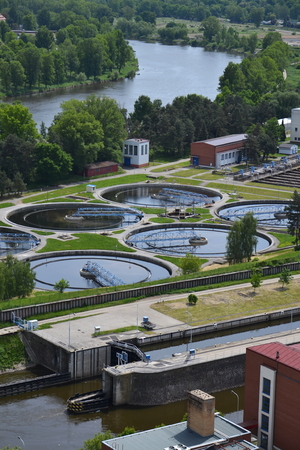 turbid: Aerial view of sewage water treatment plant in Prague, Czech republic