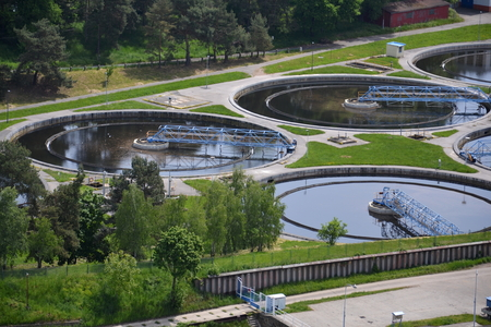 Aerial view of sewage water treatment plant in Prague, Czech republic