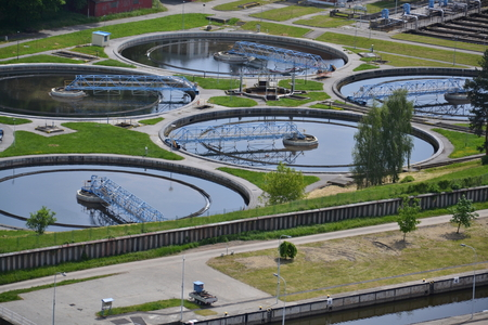 sewage treatment plant: Aerial view of sewage water treatment plant in Prague, Czech republic