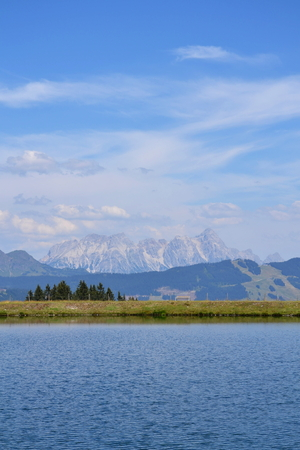 moutains: Idyllic summer landscape with lake in the moutains Alps, Saalbach-Hinterglemm