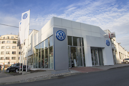 manufacturer: PRAGUE, CZECH REPUBLIC - SEPTEMBER 5: Volkswagen carmaker logo on a building of dealership on September 24, 2015 in Prague, Czech republic. Great emission scandal raises around number of Volkswagen Group cars with the EA189, 2.0 litre TDI engine.