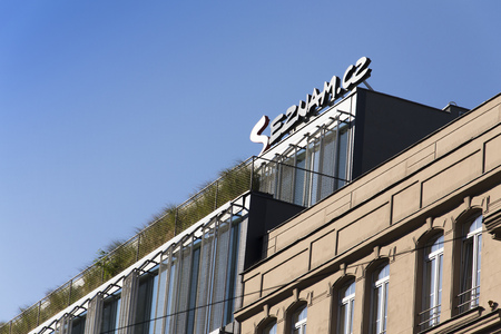 web portal: PRAGUE, CZECH REPUBLIC - OCTOBER 1: Logo of search engine and web portal Seznam.cz on the headquarters building  on October 1, 2015 in Prague, Czech republic. Seznam was for a long time number one search engine in its region.