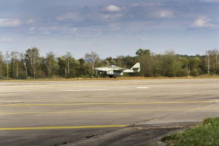 operational: First operational jet-powered fighter aircraft Messerschmitt Me-262 Schwalbe flying