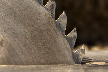 cut off saw: Switched off old rusty sharp circular saw blades closeup