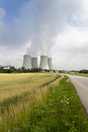 nuclear power station: Cooling towers with steam vapour at the Temelin nuclear power station in Czech republic on sunny day