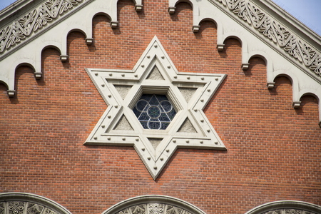 sacral symbol: Star of David on the Great Synagogue in Pilsen, Czech republic