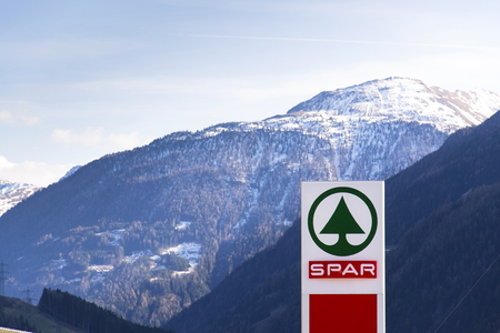 matrei: MATREI IN OSTTIROL, AUSTRIA – MARCH 28: Dutch multinational retail chain and franchise Spar logo in store on March 28, 2012 in Matrei in Osttirol, Austria. The organization comprises over 12 000 stores in 40 countries and serves over 13 milion consumers
