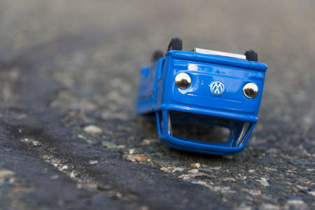 scandal: PRAGUE, CZECH REPUBLIC - MARCH 23: Illustrative photo of Volkswagen toy car for diesel engine emission scandal on March 23, 2016 in Prague, Czech republic. Editorial
