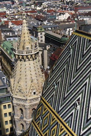 Mosaic roof patern of the St. Stephens Cathedral (Stephansdom) in Vienna, Austria
