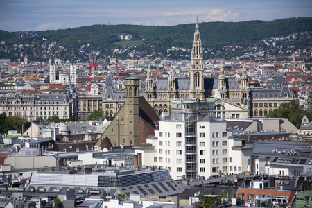 saint stephen cathedral: Aerial view of Vienna from Stephansdom Stock Photo
