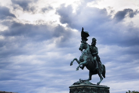 archduke: Archduke Charles of Austria statue on Heldenplatz in Vienna with dramatic sky Stock Photo