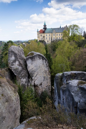 skala: Hruba Skala Castle on sandstone cliff in the Czech republic