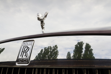 wraith: PRAGUE, CZECH REPUBLIC - MAY 20: Rolls-Royce Wraith coupé car with Spirit of Ecstasy emblem - the most powerful Rolls-Royce in history on May 20, 2016 in Prague, Czech republic.
