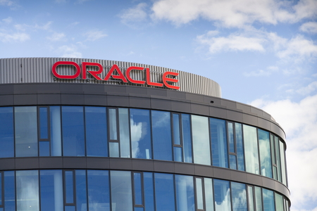 PRAGUE, CZECH REPUBLIC - JUNE 18: Oracle corporation logo on the building of czech headquarters on June 18, 2016 in Prague, Czech republic.