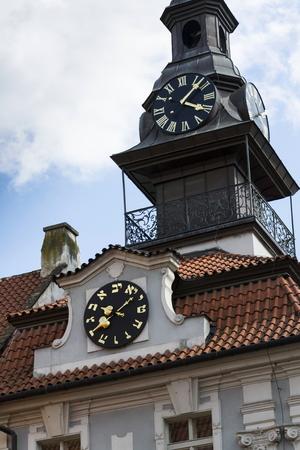 jewish quarter: The Jewish Town Hall in Prague, Czech republic Stock Photo
