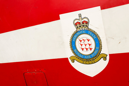 royal air force: Royal air force aerobatic team logo on Bae Hawk T1 Editorial