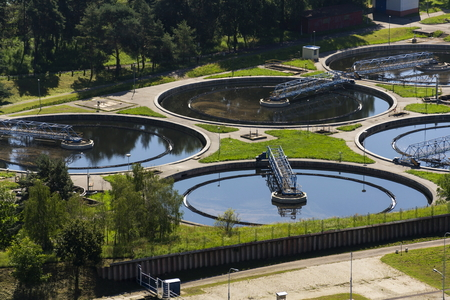 water treatment plant: Aerial view of storage tanks in sewage water treatment plant Stock Photo