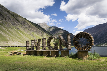 Welcome sign from wood in Livigno, Lombardy, Italy