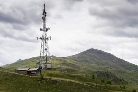 Telecommunication tower with Monte della Neve in background, Livigno