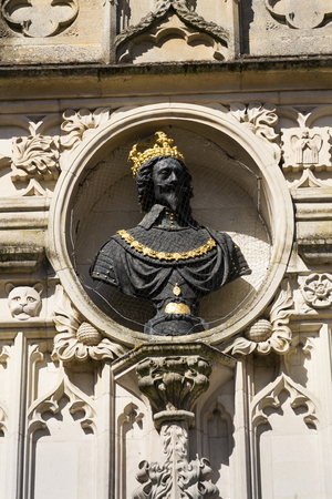 bust: Replica bust of Charles I on Chichester city market Cross