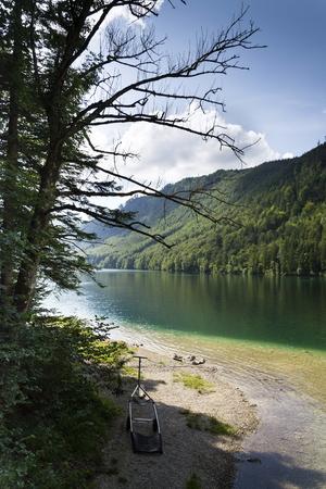 Mountain lake Vorderer Langbathsee in Salzkammergut, Upper Austria Stock Photo
