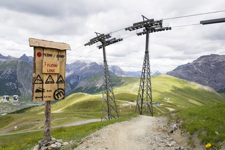 Flow line in bikepark in mountains above Livigno, Italy Stock Photo