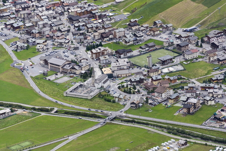 Aerial view of Livigno in Alps mountains, Lombardy, Italy