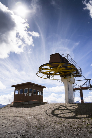 Booth on top of cableway in Alps mountains, Livigno, Italy Stock Photo
