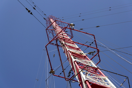 Men painting the highest Czech construction radio transmitter tower Liblice