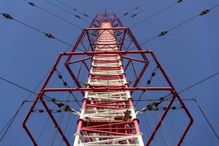 Radio transmitter tower Liblice, the highest construction in Czech republic Stock Photo