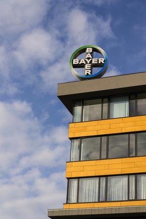 ag: PRAGUE, CZECH REPUBLIC - NOVEMBER 7: Bayer pharmaceutical company logo on the building of Czech headquarters on November 7, 2016 in Prague, Czech republic.