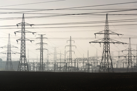 Electricity pylons leading from distribution power station