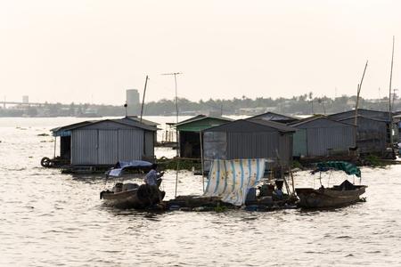 Fish farm houses floating on Mekong river, My Tho, Vietnam